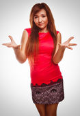 Angry dissatisfied young woman haired girl emotion isolated on w — Stock Photo
