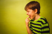 Baby boy teenager poisoning vomiting belching, anorexia fingers — Stock Photo