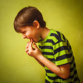 Baby kid boy teenager poisoning vomiting belching, anorexia fing — Stock Photo