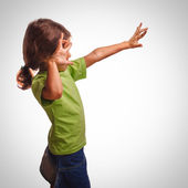 Frightened girl child hands protected from the impact violence, — Stock Photo