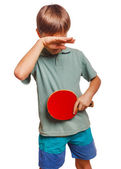 Athlete sadness depression disorder blond man boy playing table — Stock Photo