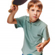 Boy athlete child teenager with racket plays table tennis ping p — Stock Photo #39801493