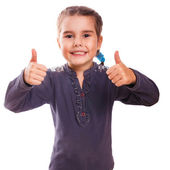 Girl baby raised her thumbs up isolated smiling symbol indicates — Stock Photo