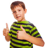 Toddler boy striped shirt, holding his fingers up — Stock Photo