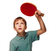 Blond boy playing table tennis forehand topspin — Stock Photo