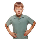 Angry teen disgruntled teenager boy frowning isolated on white b — Stock Photo