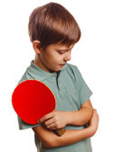 Boy upset lost setback table tennis ping pong — Stock Photo