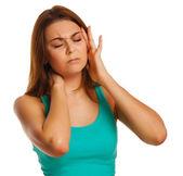 女性疲れ痛みストレスの頭痛、頭の後ろに手を繋いでいる彼, — ストック写真