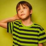 Постер, плакат: Baby boy thinks kid looking disheveled thoughts idea isolated on