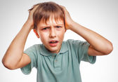 Boy child man upset angry shout produces evil face portrait isol — Stock Photo