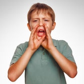 Boy teenager kids calling cries shouts opened his mouth isolated — Stock Photo
