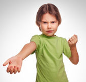 Girl teen swears evil expression dissatisfied quarrel isolated o — Stock Photo
