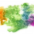 Splash green, yellow, purple paint blot watercolour color water — Stock Photo