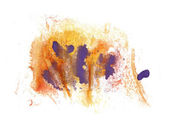 Abstract drawing stroke ink purple, orange watercolor brush wate — Stock Photo