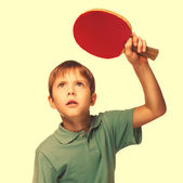 Blond man boy playing table tennis forehand takes topspin isolat — Stock Photo