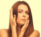 Perfect girl portrait women skin hands eyes isolated on white ba — Stock Photo