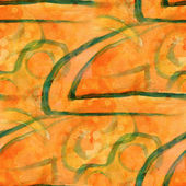 Pattern design seamless orange, green watercolor texture backgro — Stock Photo