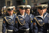 Victory Day parade security — Stock Photo