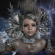 Stock Photo: Girl in silver and foil