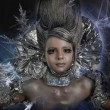 Girl in silver and foil — Stock Photo