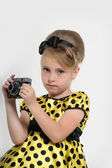 A child with a retro camera — Stock Photo