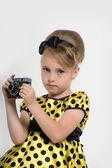 A child with a retro camera — Stock Photo