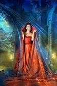 Medieval mystical image of women — Stock Photo