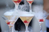 Champagne glasses tower in celebration party — Stock Photo