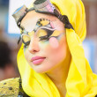 Creative makeup show at the festival of beauty — Stock Photo