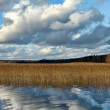 Clouds over the lake, autumn — Stock fotografie
