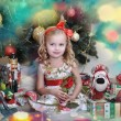 Cute little girl in front of a Christmas tree — Stock Photo #16869069