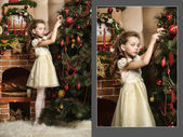 Girl decorates the Christmas tree — Zdjęcie stockowe