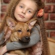 Girl with a puppy — Stock Photo