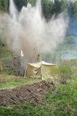 Hostilities: an explosion near the medical tent — Stock Photo