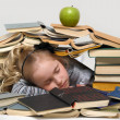 Foto de Stock  : School girl with lot of books