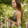 Charming girl on the nature — Stock Photo