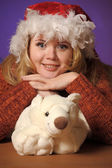 Christmas portrait of a woman — Stock Photo