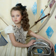Portrait of a little circus actress with tuba — Foto Stock