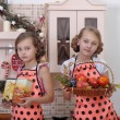 Girls in the kitchen — Stock Photo