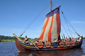 Viking ship on the river — Stock Photo