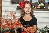Mała czarownica halloween — Zdjęcie stockowe