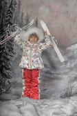 Skiing girl — Stock Photo