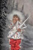 滑雪的女孩 — 图库照片