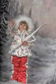 Skifahren mädchen — Stockfoto