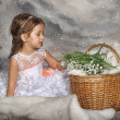 Girl with may-lilies — Stock Photo