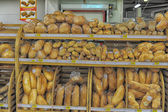 Bakery products at supermarket — Stok fotoğraf