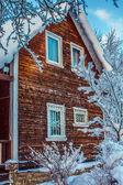 Winter beautiful snow house — Stock Photo