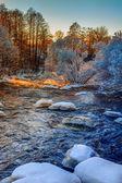 Winter river on sunrise — Photo