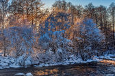 Winter river on sunrise — Photo
