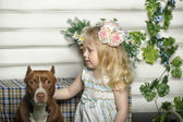 Girl with dog — Stock Photo